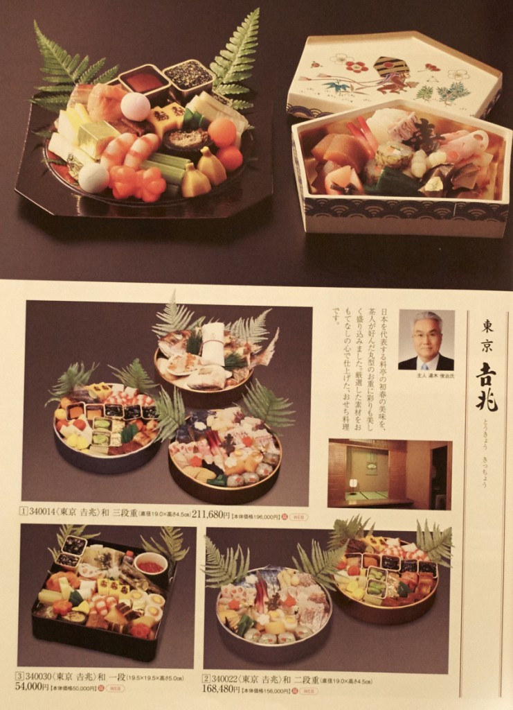 Osechi-ryori boxes in Takashimaya's 2015 catalogue, an upscale Japanese Department Store