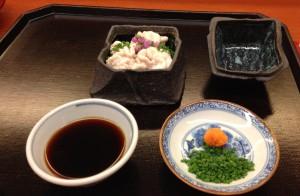 Herbst Menü im Nihonbashi Yukari. Hashiri: Shirako schmeckt in den kalten Monaten Dezember und Januar am besten.