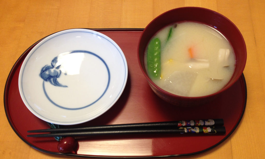 A colourful bowl of miso soup