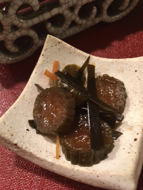 Tsukemono:  Cucumbers pickled with Ginger and Kombu