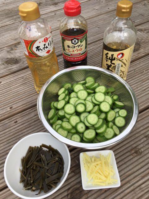 Tsukemono Zutaten: Mirin, Soja Sauce, reisessig, in Scheiben geschnittene Gurken und in feine Streifen geschnittener Kombi und Ingwer
