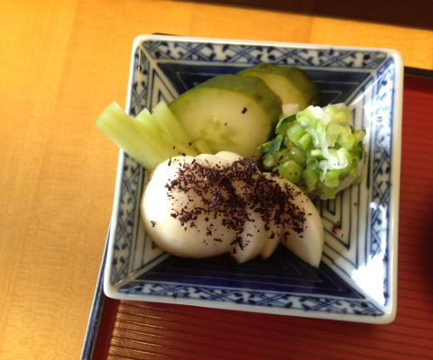 Nuka zuké: Cucumbers and turnips topped with yukari and shio zuké on the side
