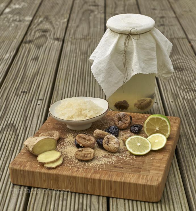 Zutaten für Wasserkefir mit fermentierter Limonade